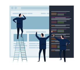 web develop and web design team ,and people business team working on wireframe coding programming concept small people with large screen