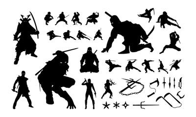 Set of Ninja Silhouette vector illustration, Ninja Weapon silhouette