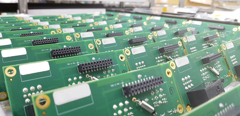 Detail of an electronic printed circuit board.