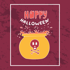 Colorful vector hand-drawn banner for Halloween. Copper with the boiling potion.