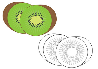 Kiwi fruit. Coloring page, game for fids. Vector illustration.