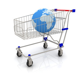 Earth globe in shopping cart