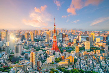 Tokyo skyline with Tokyo Tower in Japan