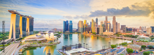 Fotomurales Singapore downtown skyline bay area