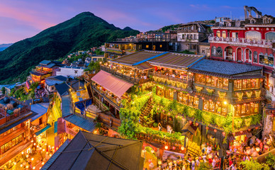 Aluminium Prints Asian Famous Place Top view of Jiufen Old Street in Taipei