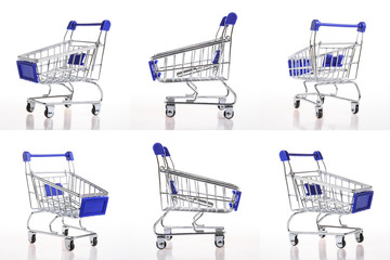 shopping cart collection on white background. shopping concept.