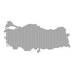 Turkey map country abstract silhouette of wavy black repeating lines. Contour of sinusoid curve. Vector illustration.