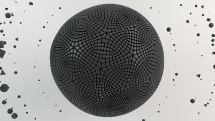 Black sphere on the white surface