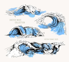 Sea waves. Sketch ocean waves. Vintage hand drawn ocean tidal storm waves isolated with blue texture for surfing and seascape, vector illustration