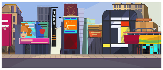 New York cityscape vector illustration. Modern city with different buildings and billboards. Big city concept