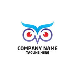 owl bird logo, bird head icon, education symbol. vector template ready for use