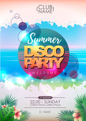 Summer party poster design on neon background
