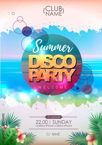 summer party poster design on neon background fotolia com の