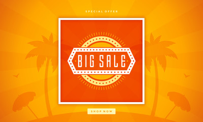 Summer Sale banner online shopping on beach background