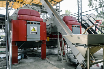 Grape sorter and press in winery