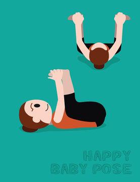 Yoga Happy Baby Pose Cartoon Vector Illustration