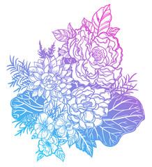 Wild field summer flowers, bridal bouquet sketch in line art style.