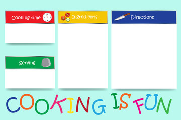 Cooking board vector with colorful sign Cooking is fun