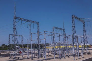 Electrical substation of 110 and 220 kV switchgear, current transformers, substation maintenance and safety systems