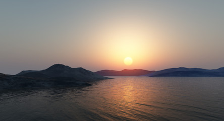 Sunset over the mountains by the sea