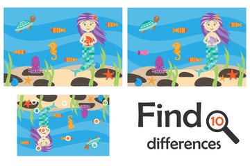 Find 10 differences, game for children, mermaid underwater in cartoon style, education game for kids, preschool worksheet activity, task for the development of logical thinking, vector illustration