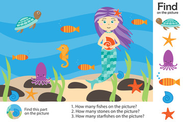 Activity page, mermaid under water in cartoon style, find images, answer the questions, visual education game for the development of children, kids preschool activity, worksheet, vector illustration