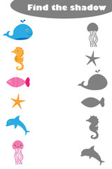 Find the shadow match game with pictures of ocean animals for children, education game for kids, preschool worksheet activity, task for the development of logical thinking, vector illustration