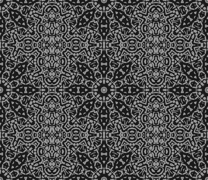 Vector seamless pattern. Eastern texture for textiles, fabrics, flax. Abstract ornament with a contour mandala. Black and white texture of the East in the style of Damascus. Vintage Wallpaper Template
