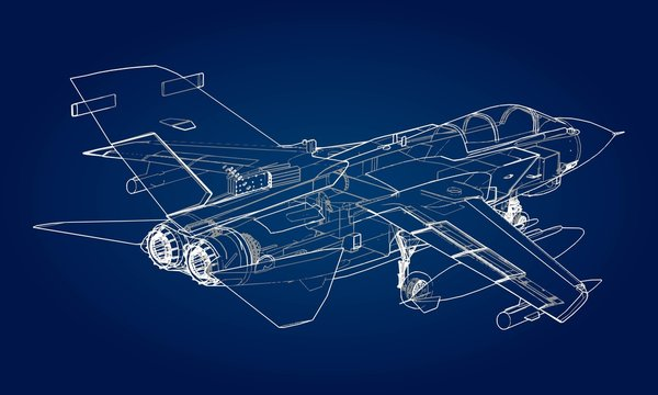 Military jet fighter silhouettes. Image of aircraft in contour drawing lines. The internal structure of the aircraft.
