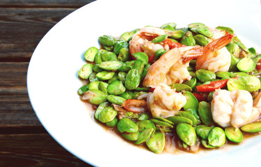 Stir Fried Shrimp with stink bean or bitter  bean and Shrimp Paste Southern Thai Style Food  (Thai  name is Sataw Kapi Kung)