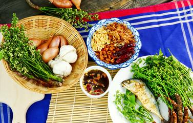 Traditional Thai Set Menu  Grilled mackerel with Neem and Sweet & Sour Tamarind Sauce. (Thai name is Sadow Nam Pla Wan)