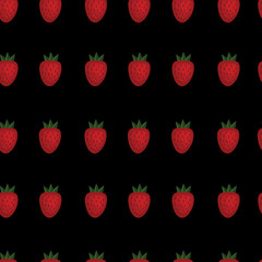 Strawberry seamless pattern on black background. Vector. Wrapping paper.