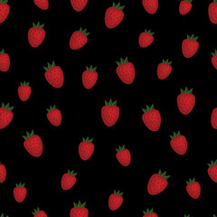 Strawberry seamless pattern. Vector. Wrapping paper. black background.