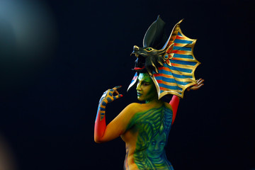 "A model performs during the ""World Bodypainting Festival 2018"" in Klagenfurt"