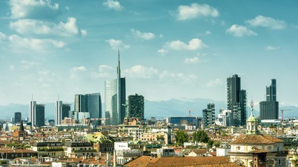 Fototapete - Milan skyline with skyscrapers of Porto Nuovo
