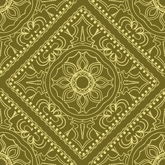 Template floral Decorative Square seamless pattern. Vector illustration. for Fabric Print.