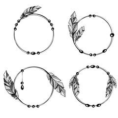 Feathers boho style circle frames