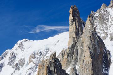 White Line Cloud and Sharp Peak in Chamonix
