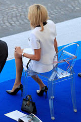 Brigitte Macron, wife of French President Emmanuel Macron, attends the traditional Bastille Day military parade on the Champs-Elysees Avenue in Paris