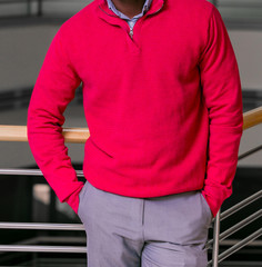 Cropped Head Man standing in a jumper sweater