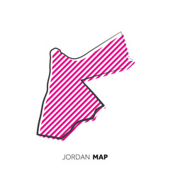 Jordan vector country map. Map outline with dots.