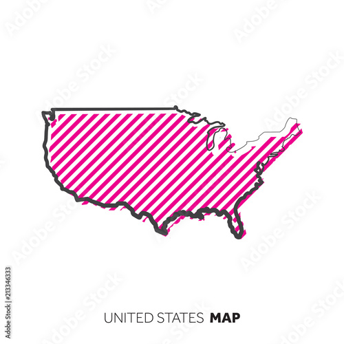 United States of America vector country map. Map outline with dots ...