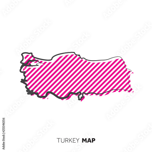 Turkey vector country map. Map outline with dots.\