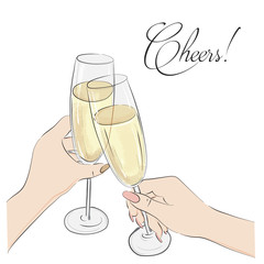Cheers vector illustration. Glasses with champagne alcohol  and cheers typography. Happy anniversary, wedding, party sign. Restaurant lettering print