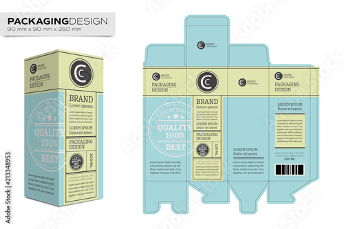 packaging design template box layout for cosmetic product vintage