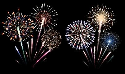 Set of isolated fireworks illustration