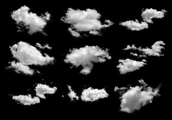 collection of white clouds isolated on black background, set of clouds