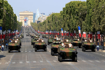 Armoured vehicles of French Army attend the traditional Bastille Day military parade on the Champs-Elysees Avenue in Paris