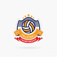 Volleyball championship logo, designs templates with volleyball ball on a light background