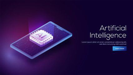 Responsive landing page design with 3D isometric illustration of a robot on processor chip.